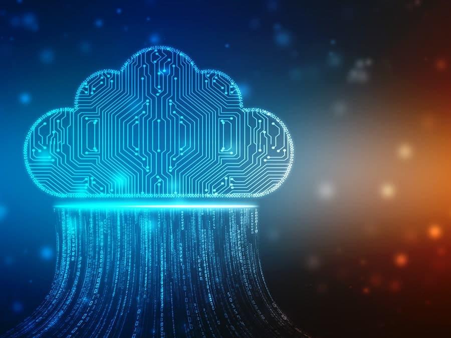 Grafik zeigt eine digitale Wolke als symbol für INES Cloud Services