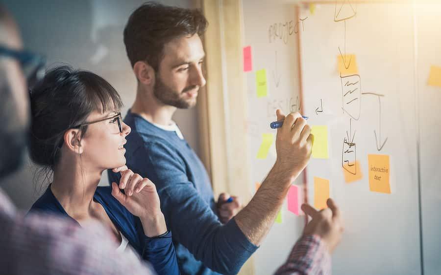 Mitarbeiter Mann und Frau stehen an einem Whiteboard und skizzieren eine Mindemap