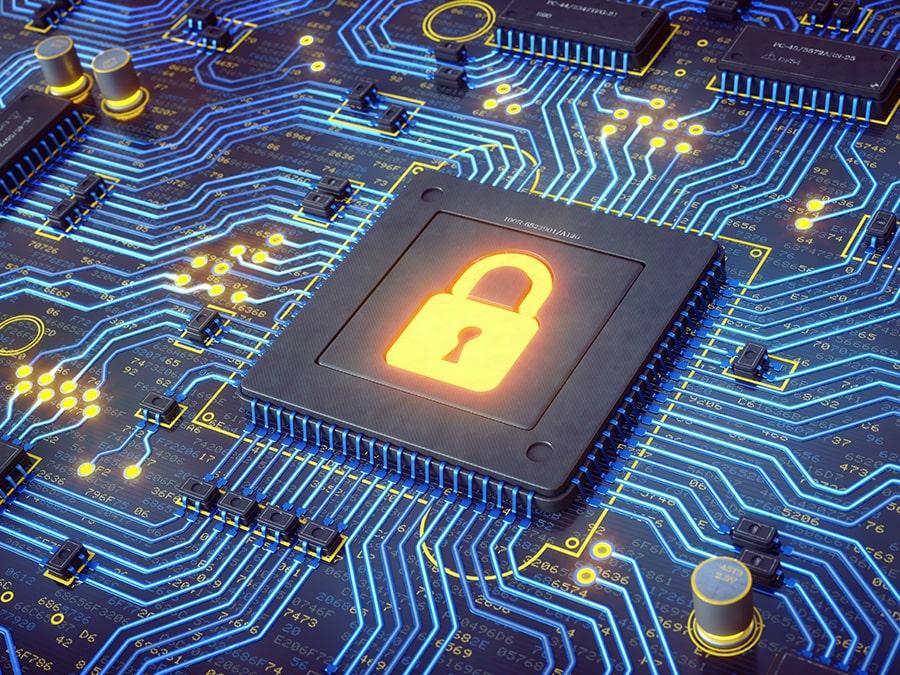 Visualisierung eins CPU mit einem digitalen Schloss welches für den Bereich Informationssicherheit steht
