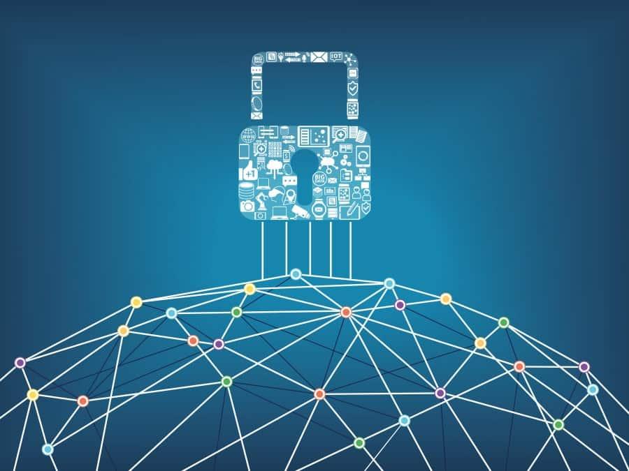 Grafik zeig ein digitales Schloss welches passend zum Bereich IT-Sicherheitslösungen